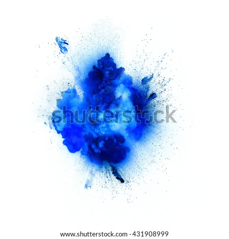 Blue explosion isolated on white background #431908999