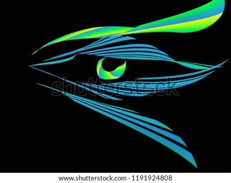 Stock Photo Blue eye with a green pupil on a black background.