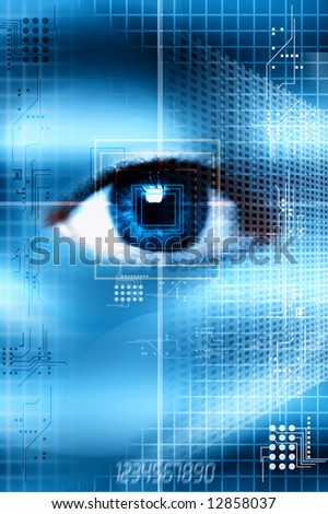 blue eye with electronic symbols, grids and numbers as concept for identity protection