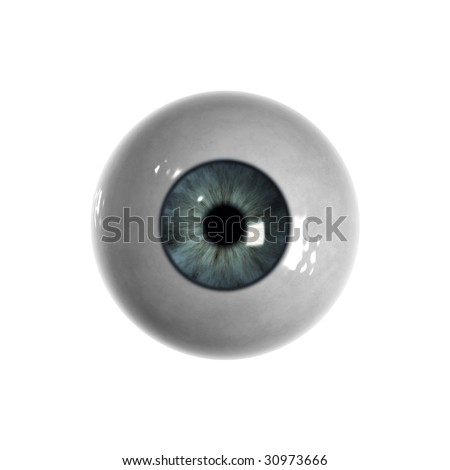 Blue eyeball with almost no veins visible - stock photo