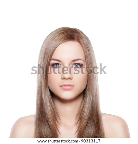 blue eyed blond-brown woman face over white