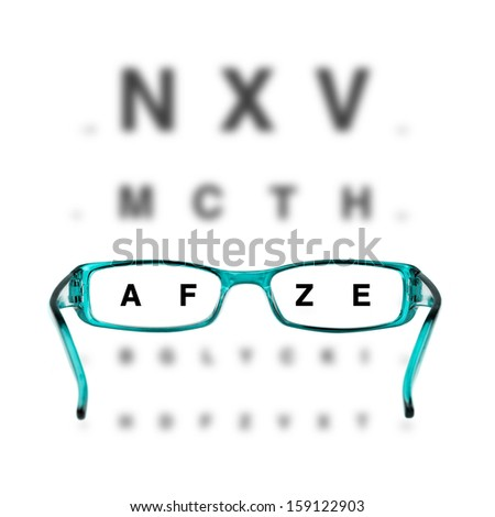 blue eyeglasses and eye-chart on white background