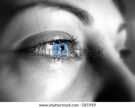 Blue  eyes of a beautiful woman