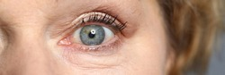 Blue eyes of an elderly woman. Healthy complexion and aging skin