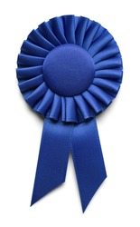 Blue Fabric Award Ribbon with Copy Space Isolated on White Background.