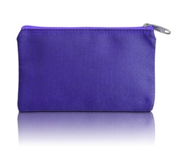 blue fabric bag with zipper on white background