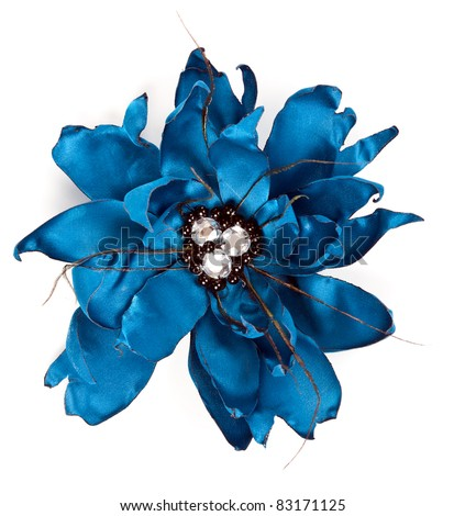 blue fabric flower with crystals isolated on a white background