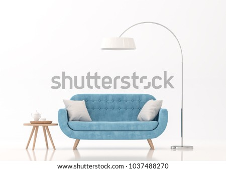 Blue fabric sofa on white background 3d rendering image.There are clipping path on an armchair,table and lamp.
