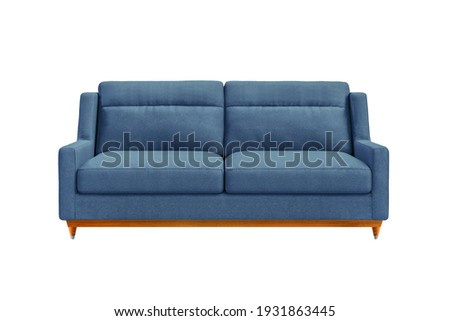 Blue fabric sofa on wooden legs isolated on white background. Series of furniture Foto stock ©