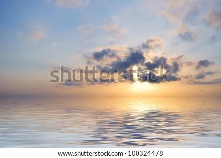 blue fantastic ocean sunrise at cloudy weather