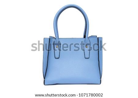 Blue fashion purse handbag on white background isolated ストックフォト ©