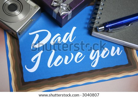 Blue Father's Day card with love message & camera and present