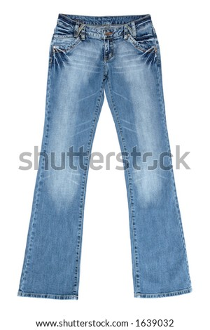 Blue female jeans isolated on white with clipping path - stock photo