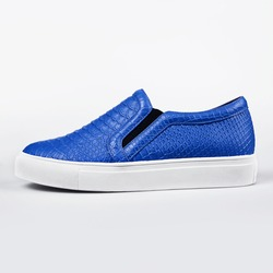 blue female shoes in white background