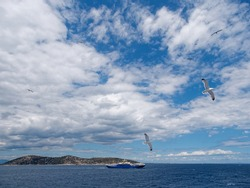 Blue ferry boat sailing across Aegean Sea and seagulls flying under blue sky