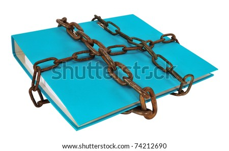 Blue file folder protected with chain, isolated on white.