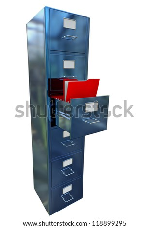 blue filing cabinet for documents with important information