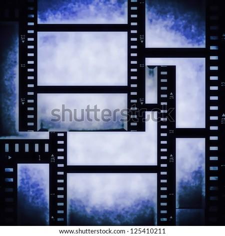 blue film strip background, texture