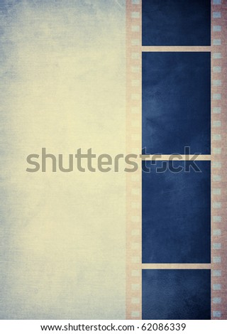 blue film stripe on pale blue background with space for text