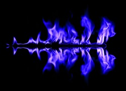 Blue fire and flames on black background