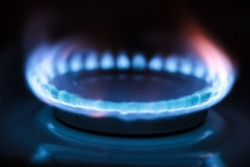 Blue fire in gas burner