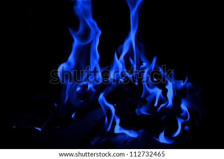blue fire on black background
