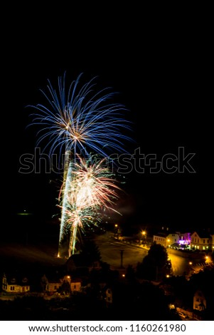 Blue firework. Amazing fireworks, fireworks 2019, fireworks background, fireworks event, Celebration in the town. #1160261980