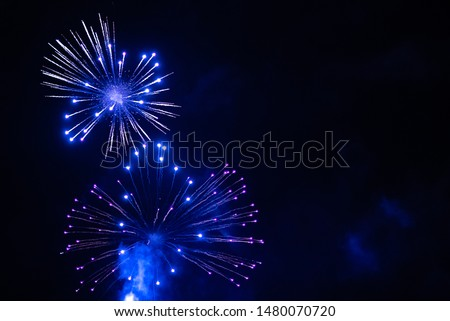 Blue fireworks in the night sky. Festive firecracker. Beautiful background. #1480070720