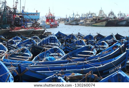 Blue fishing boats in harbor Essaouira, Morocco