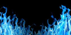 blue flame half frame isolated on black background