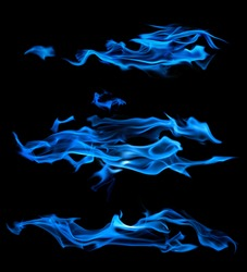 blue flames isolated on black background
