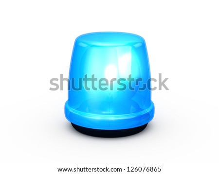Blue flashing and glowing emergency police light, signal for attention, isolated on white background.