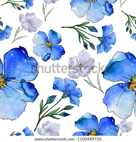 Blue flax. Floral botanical flower. Seamless background pattern. Fabric wallpaper print texture. Aquarelle wildflower for background, texture, wrapper pattern, frame or border.