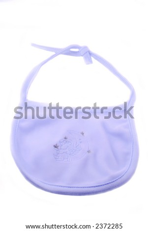 blue fleecy baby bib on a white  background
