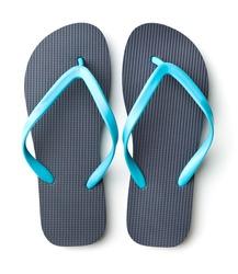 Blue flip flops isolated on white background.