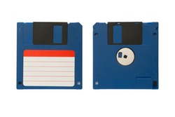 Blue floppy diskette with two sides isolated on the white background.