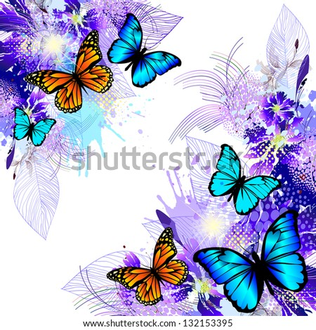 blue floral abstraction with butterflies. Raster