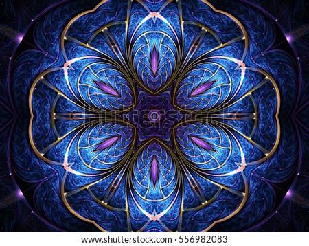 Blue flower shaped fractal mandala, digital artwork for creative graphic design