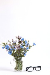 Blue flowers in a glass cup and glasses on white background. Copy space.