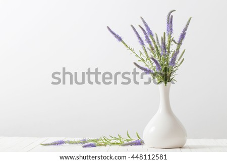 blue flowers in a vase on white background #448112581