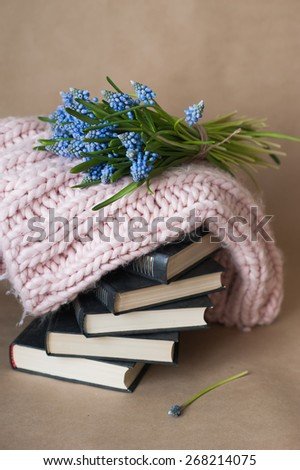 Blue flowers lie on a pile of books with pink knit scarf , decor