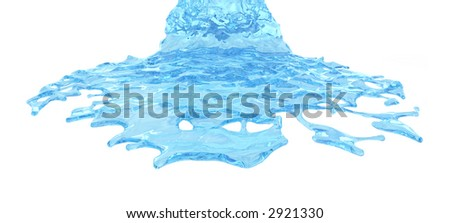 Blue flowing liquid. Isolated on white.
