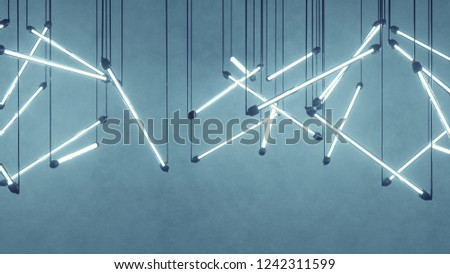 Blue fluorescent light bulbs hanging. Computer generated abstract graphics. 3D rendering