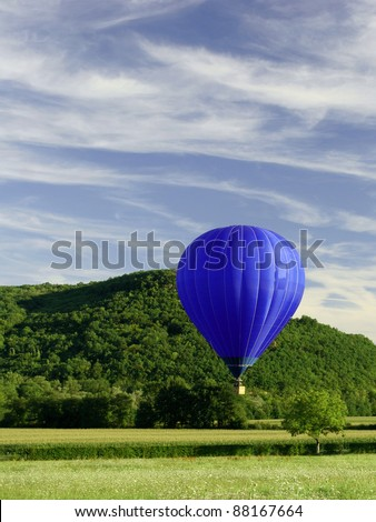 blue flying hot air balloon, hot air ballon