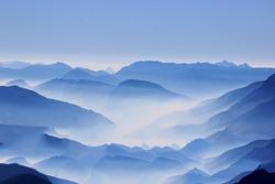 blue fog nature sky mountain mist