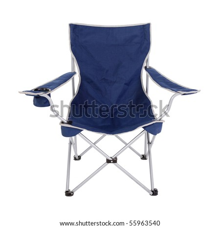 Blue foldable camping chair with silver trim.