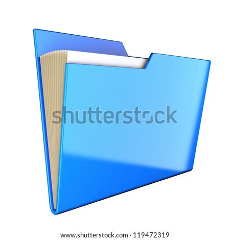 Blue folder icon isolated at white. 3d render illustration