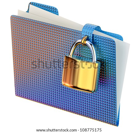 blue folder with golden hinged lock stores important documents