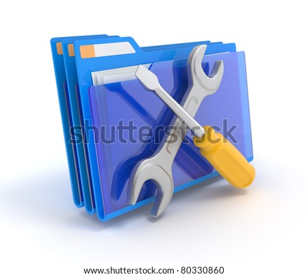 Blue folder with tools isolated on white. 3d illustration