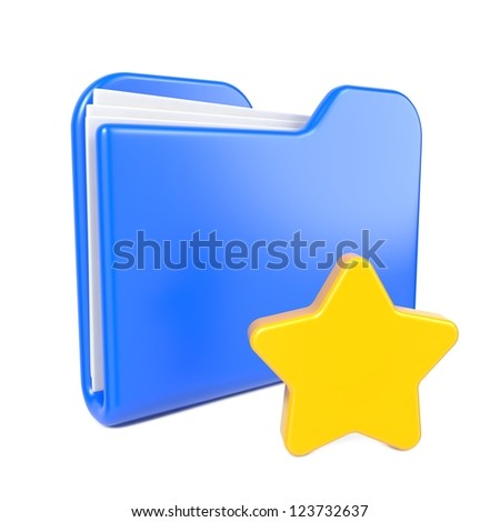 Blue Folder with Toon Yellow Star. Isolated on White.